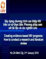 Xây dựng chương trình can thiệp HIV trên cơ sở thực tiễn: Phương pháp xem xét tài liệu và các nghiên cứu