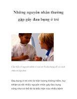 Những nguyên nhân thường gặp gây đau bụng ở trẻ doc