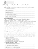Written Test 3 -  45 minutes  (English 7-Period 73).