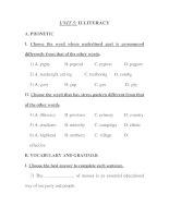Trắc nghiệm Tiếng anh lớp 11 - UNIT 5: ILLITERACY potx