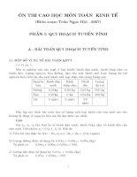 Ôn thi Cao học môn Toán kinh tế - Phần I: Quy hoạch tuyến tính pptx