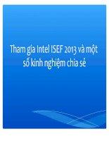 Tham gia Intel ISEF 2013 và một số kinh nghiệm chia sẻ