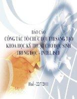 BÁO CÁO CÔNG TÁC TỔ CHỨC HỘI THI SÁNG TẠO KHOA HỌC KỸ THUẬT CHO HỌC SINH TRUNG HỌC – INTEL ISEF