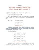 Chương 1: ĐỐI TƯỢNG, NHIỆM VỤ VÀ PHƯƠNG PHÁP NGHIÊN CỨU CỦA TÂM LÝ HỌC QUẢN LÝ pptx