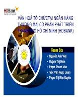 bài thuyết trình văn hoá tổ chức tại ngân hàng thương mại cổ phần phát triển thành phố hồ chí minh (hdbank)