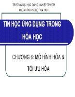 bài giảng tin học ứng dụng trong hóa học chương 6 mô hình hóa tối uuw hóa - đh công nghiệp tp.hcm