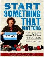 start something that matters   blake mycoskie