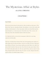 The Mysterious Affair at Styles AGATHA CHRISTIE CHAPTER 1 pptx