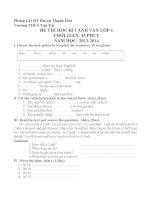 đề kiểm tra học kì 1 tiếng anh 6  2013 2014