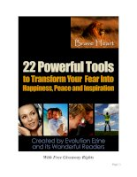22 Powerful Tools to Transform Your Fear Into Happiness, Peace and Inspiration ppsx