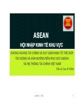 Khủng hoảng tài chính và suy giảm kinh tế thế giới tác động và ảnh hưởng đến khu vực Asean và hệ thống tài chính Việt Nam pot