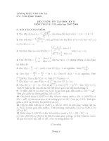 đề cương ôn tập học ky hai môn toán 11