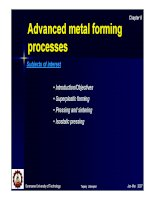 Advanced metal forming processes Subjects of interest docx