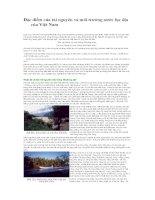 Các đặc điểm của tài nguyên và môi trường nước lục địa của Việt Nam ppt