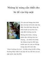 Những kỹ năng cần thiết cho bé để vào lớp một pdf