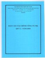 báo cáo tài chính của công ty mẹ quý 2 năm 2010 tổng công ty cổ phần dịch vụ kỹ thuật dầu khí việt nam