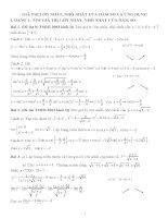 GTLN, GTNN của hàm số và ứng dụng