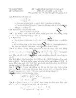 Đề thi đại học khối A môn toán 2014 và đáp án đầy đủ
