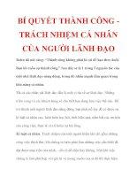BÍ QUYẾT THÀNH CÔNG TRÁCH NHIỆM CÁ NHÂN CỦA NGƯỜI LÃNH ĐẠO doc