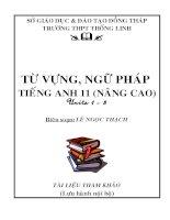 TỪ VỰNG, NGỮ PHÁP TIẾNG ANH 11 (NÂNG CAO) Units 1- 8 pps