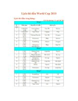 Lịch thi đấu world cup 2010