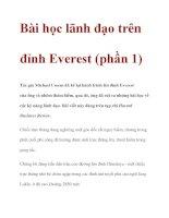 Bài học lãnh đạo trên đỉnh Everest (phần 1) docx
