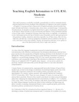 Teaching English Intonation to EFLESL Students