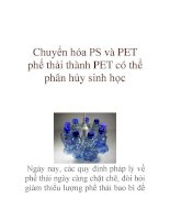 Chuyển hóa PS và PET phế thải thành PET có thể phân hủy sinh học Ngày nay, các pptx