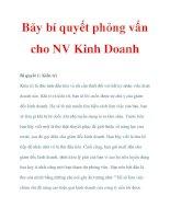 Bảy bí quyết phỏng vấn cho NV Kinh Doanh docx