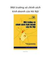 Môi trường và chính sách kinh doanh của Hà Nội - Mở Đầu ppt