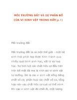 MÔI TRƯỜNG ĐẤT VÀ SỰ PHÂN BỐ CỦA VI SINH VẬT TRONG ĐẤT(p-1) pps