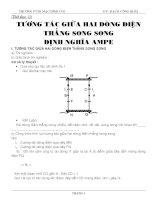 Giáo án vật lý 11 - Tương tác giữa hai dòng điện thẳng song song, định luật Ampe doc