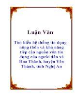 Luận văn: Tìm hiểu hệ thống tín dụng nông thôn và khả năng tiếp cận nguồn vốn tín dụng của người dân xã Hoa Thành, huyện Yên Thành, tỉnh Nghệ An pdf