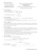 Đáp án - Đề thi tuyển sinh lớp 10 môn toán