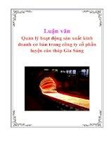 Luận văn: Quản lý hoạt động sản xuất kinh doanh cơ bản trong công ty cổ phần luyện cán thép Gia Sàng pdf