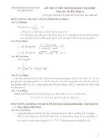 Đề và đáp án tuyển sinh đại học môn toán khối A năm 2009