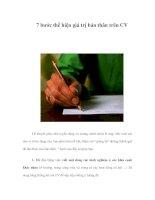 7 bước thể hiện giá trị bản thân trên CV potx