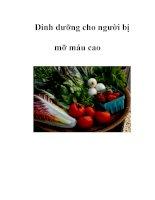 Dinh dưỡng cho người bị mỡ máu cao docx