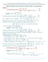 Một số bài toán giải phương trình, hệ phương trình mũ và Logarit ppsx