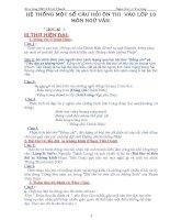 HỆ THỐNG MỘT SỐ CÂU HỎI ÔN THI LỚP 10