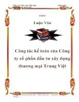 Luận văn : Công tác kế toán của Công ty cổ phần đầu tư xây dựng thương mại Trung Việt pdf