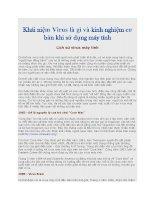 khái niệm virus là gì và kinh nghiệm cơ bản khi sử dụng máy tính