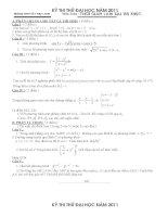 Đề thi thử đại học - cao đẳng môn Toán năm 2011 - đề số 6 pdf