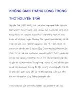 KHÔNG GIAN THĂNG LONG TRONG THƠ NGUYỄN TRÃI ppt