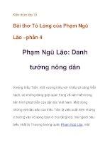Kiến thức lớp 10 Bài thơ Tỏ Lòng của Phạm Ngũ Lão danh tướng nông dân ppt