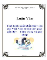 Luận văn: Tình hình xuất khẩu thuỷ sản của Việt Nam trong thời gian gần đây – Thực trạng và giải pháp potx