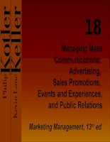 Managing Mass Communications: Advertising, Sales Promotions, Events and Experiences, and Public Relations potx
