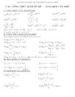 các công thức hàm số mũ+logarit cần nhớ