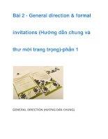 Bài 2 - General direction & formal invitations pptx