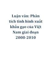 Luận văn: Phân tích tình hình xuất khẩu gạo của Việt Nam giai đoạn 2008-2010 ppsx